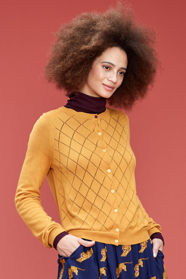 Emily and Fin Tess Pointelle Cardigan Golden Ochre Sample Sale