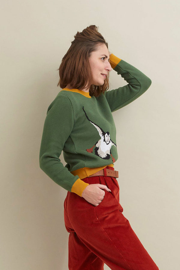 Palava Esther Green Puffin Organic Cotton Jumper