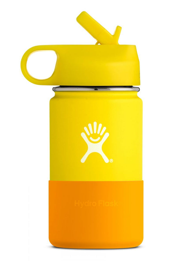 Hydro Flask Wide Mouth Kids Bottle Straw Lid Double Insulated Lemon 354ml / 12oz