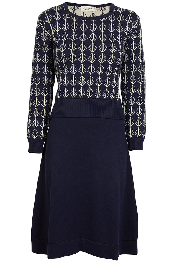 Palava Otti Knitted Dress Navy Cream Feathers