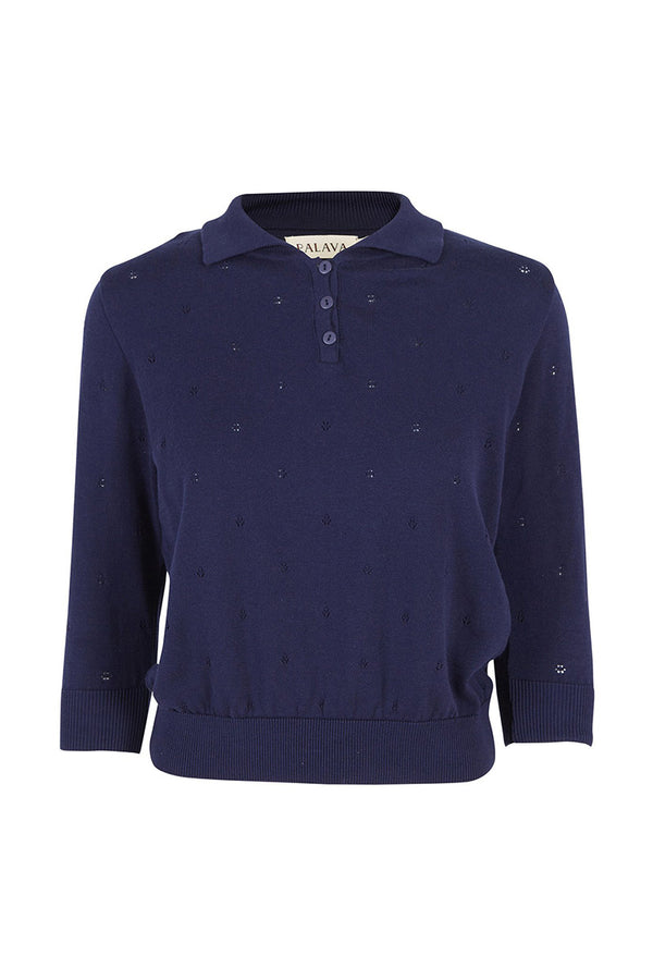 Palava Organic Cotton Knitted Top Navy