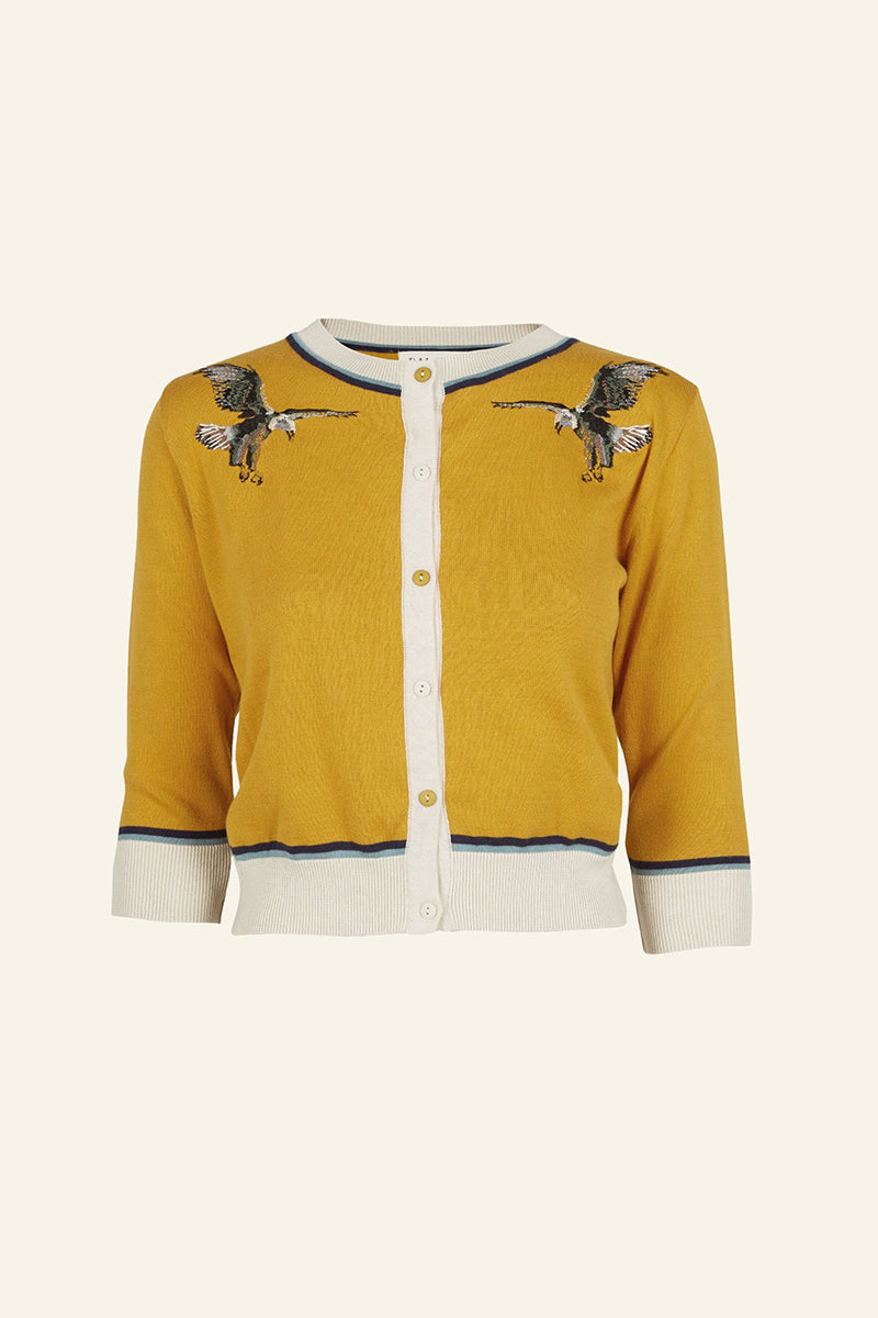 Palava Vera Organic Cotton Cardigan Mustard Embroidered Eagle