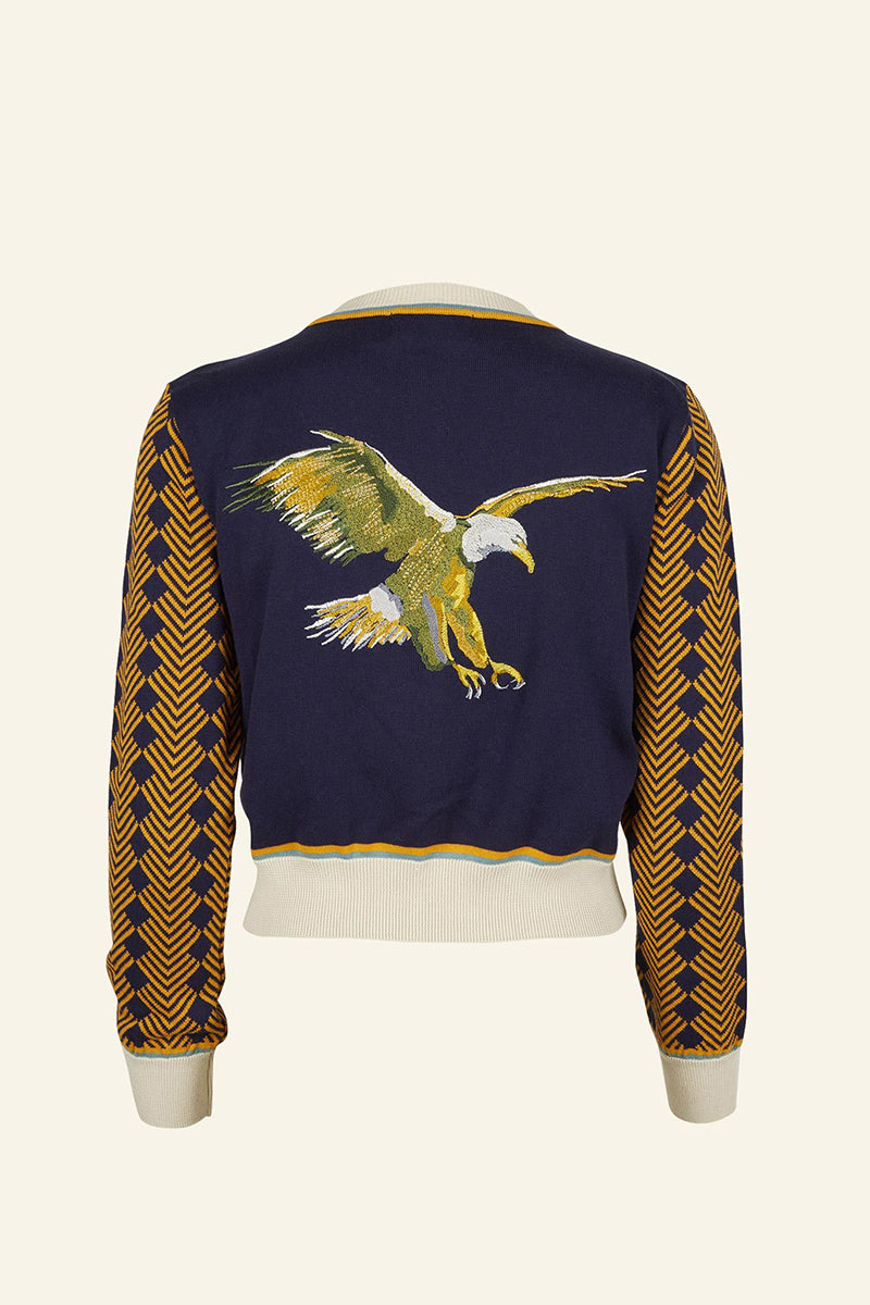 Palava Vera Large Embroidery Organic Cotton Cardigan Navy Embroidered Flying Eagle