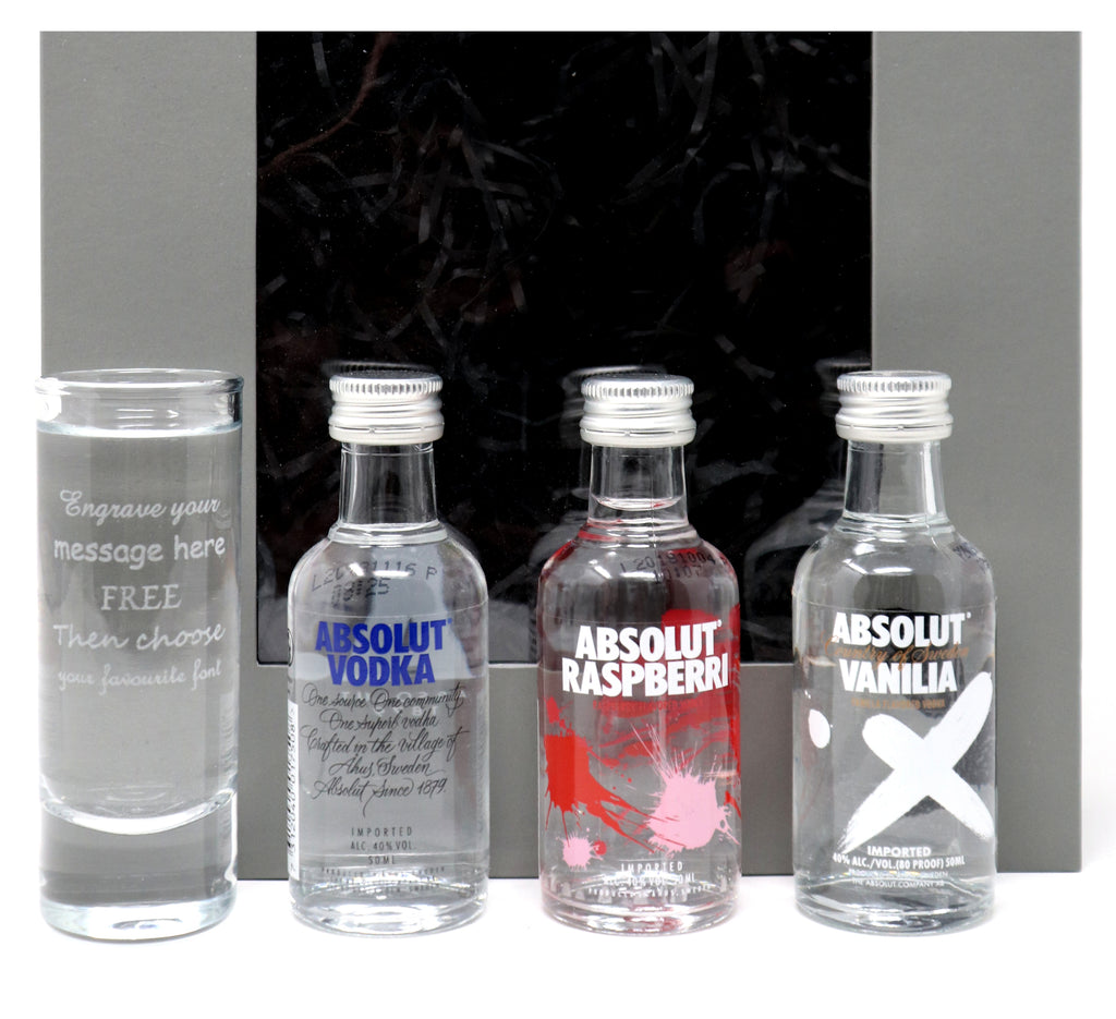 Personalised/Engraved Tall Shot Glass + 3 Absolut Vodka Miniatures in Grey Gift Box