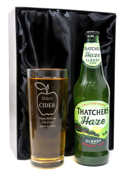 Personalised Pint Glass & Bottle/Can of Cider in Silk Gift Box - Apple Cider Design