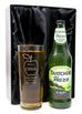 Personalised New Pint Glass & Bottle/Can of Cider in Silk Gift Box - Apple Cider Design