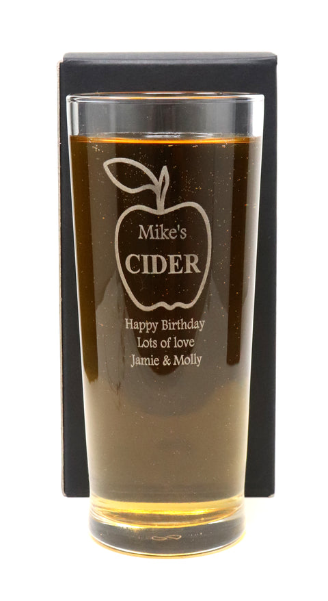 Personalised Pint Glass - Cider Apple Design