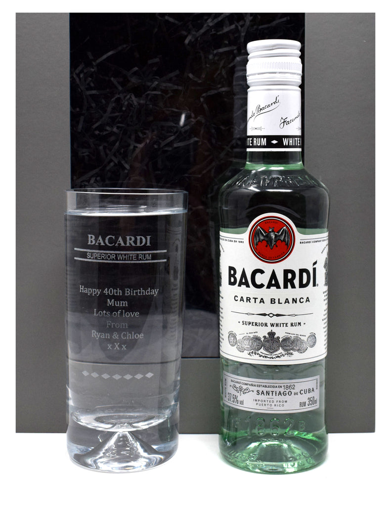 Personalised Dimple Highball & 35cl Bacardi - Bacardi Design