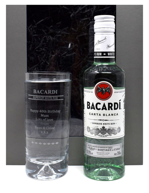 Personalised Dimple Based Highball Glass & 35cl Bottle of Bacardi in a Grey Presentation Gift Box - Bacardi Design