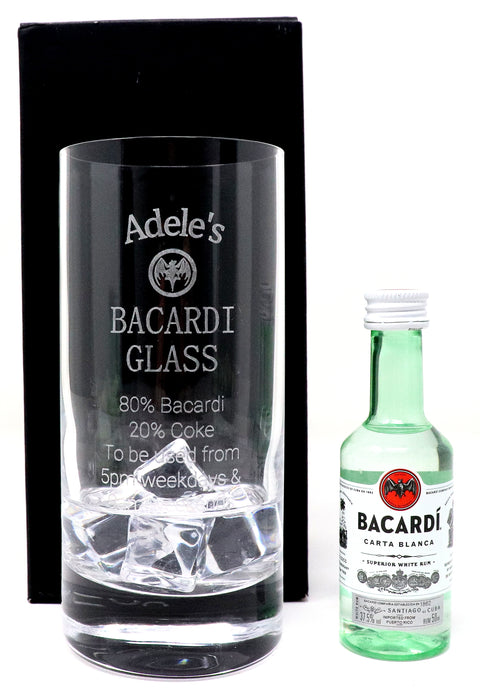 Personalised Premium Highball Glass - Bacardi % Design