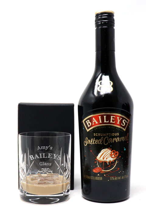 Personalised Crystal Tumbler + 70cl Baileys Salted Caramel - Baileys Design