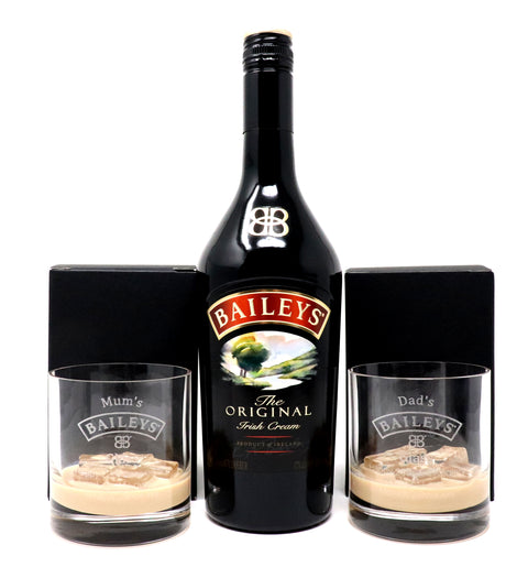 Personalised Pair of Premium Tumblers & 70cl Bottle of Baileys - Baileys Design