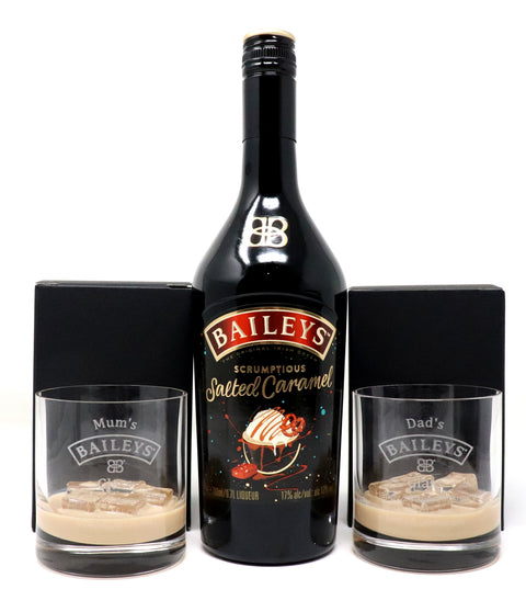 Personalised Pair of Premium Tumblers & 70cl Bottle of Baileys Salted Caramel - Baileys Design