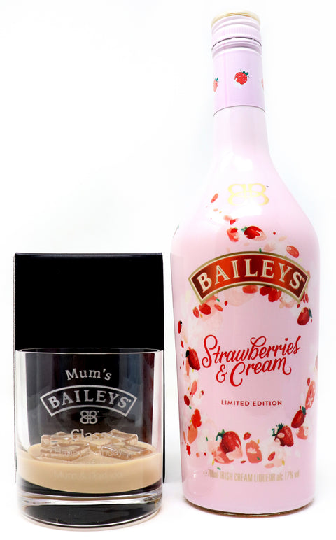 Personalised Premium Tumbler & 70cl Strawberries & Cream - Baileys Design