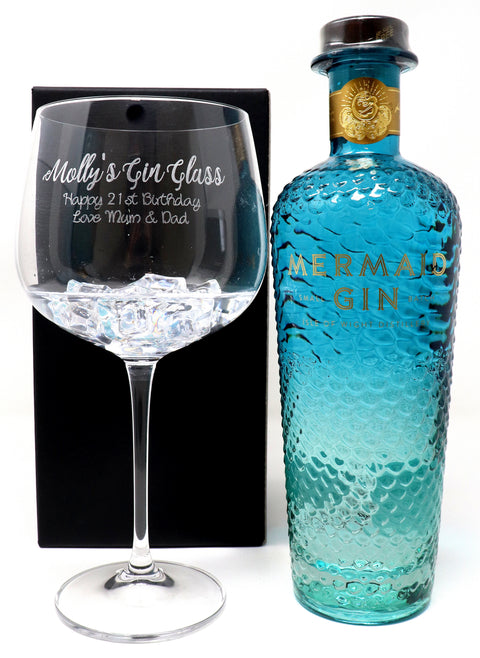 Personalised Gin Balloon Cocktail Glass & 70cl Bottle of Mermaid Blue Gin - Gin Design