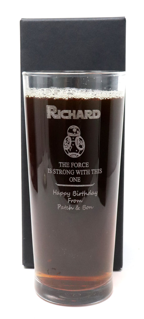 Personalised New Pint Glass - Star Wars BB8 Design