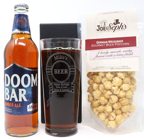Personalised New Pint Glass & Bottle of Beer/Guinness & Beer Popcorn in Silk Gift Box - Beer Design