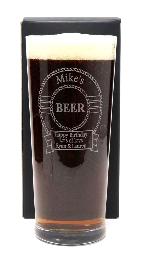 Personalised Pint Glass - Beer Design