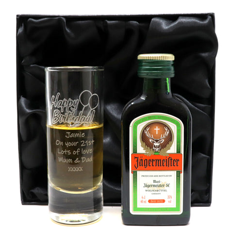 Personalised Tall Shot Glass & Miniature in Silk Gift Box - Birthday Design
