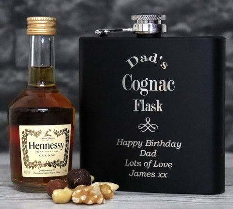 Personalised Black Hip Flask & Miniature Cognac in Gift Box - Cognac Design