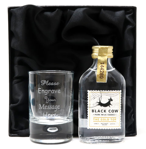 Personalised Shot Glass & Miniature Vodka in Silk Gift Box
