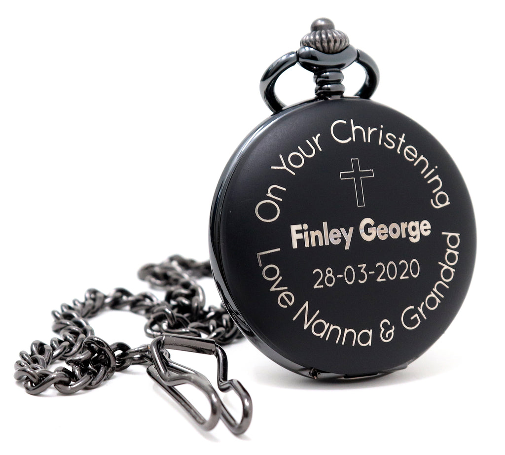 Personalised Black Pocket Watch - Christening Design