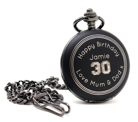 Personalised Black Pocket Watch - Birthday Design