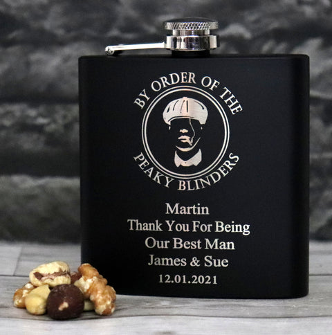Personalised Black Hip Flask in Gift Box - Peaky Blinders Design