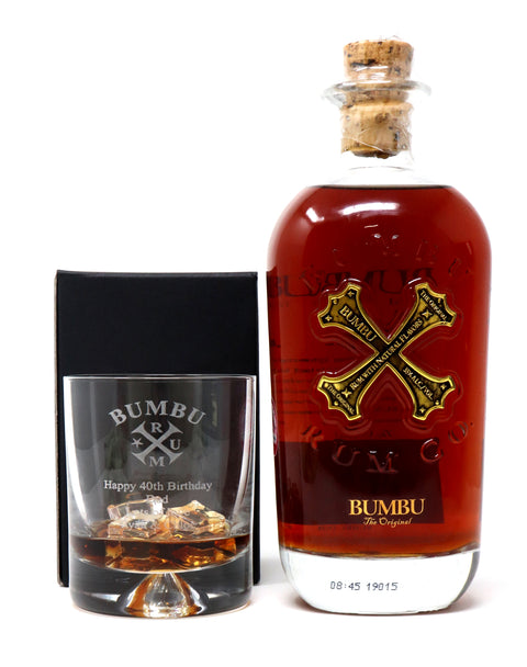 Personalised Dimple Glass Tumbler & 70cl Bottle of Bumbu Rum- Bumbu Rum Design