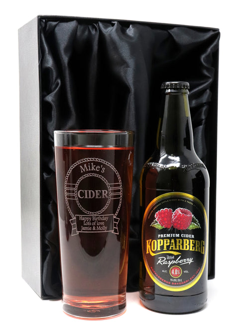 Personalised New Pint Glass & Bottle/Can of Cider in Silk Gift Box - Cider Design