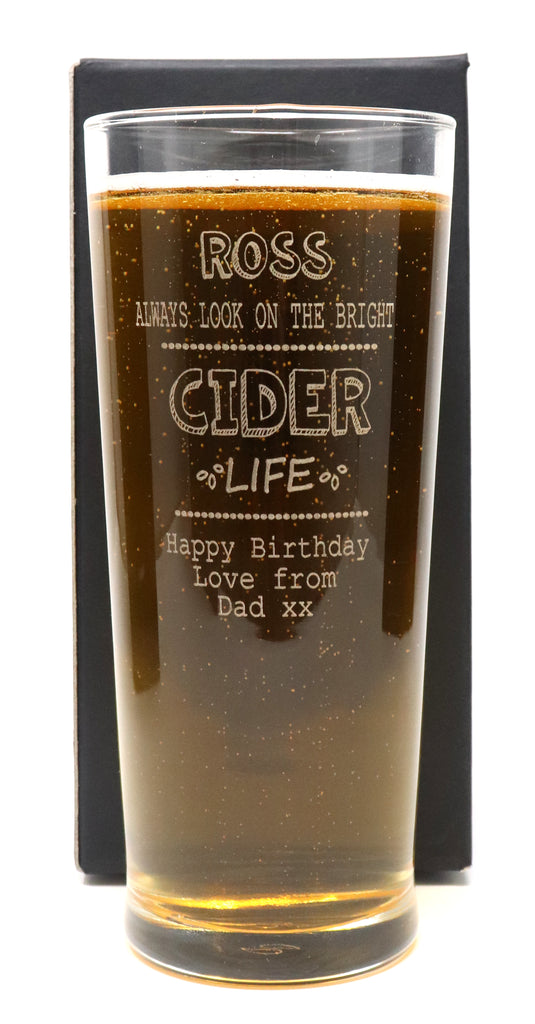 Personalised Pint Glass - Bright Cider Life Design