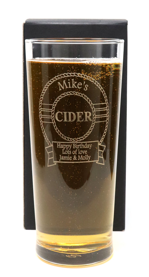 Personalised Pint Glass - Cider Design