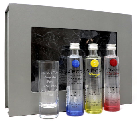 Personalised Tall Shot Glass + 3 Ciroc Vodka Miniatures in Grey Gift Box