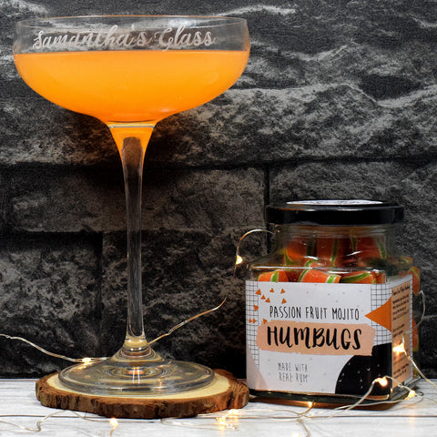 Personalised Cocktail Saucer Glass + A Jar Of Passionfruit Mojito Humbugs