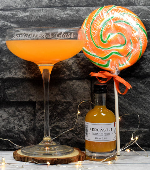 Personalised Cocktail Saucer Glass + Giant Passionfruit Mojito Lolly + Redcastle Passionfruit Gin