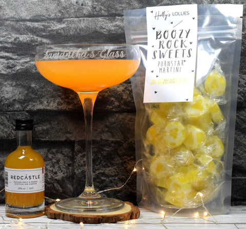 Personalised Cocktail Saucer Glass + Pornstar Martini Rock Sweets + Redcastle Passionfruit Gin