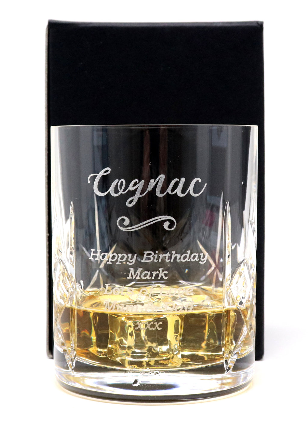 Personalised Crystal Glass Tumbler - Cognac Design
