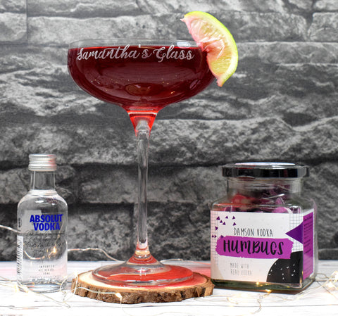 Personalised Cocktail Saucer Glass + A Jar Of Damson Vodka Humbugs + Miniature Vodka