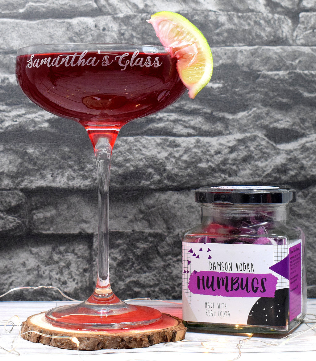 Personalised Cocktail Saucer Glass + A Jar Of Damson Vodka Humbugs