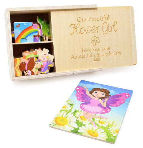 Personalised/Engraved Wooden Girls In Costume Jigsaw Puzzles