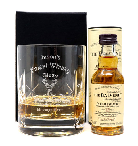 Personalised Crystal Glass Tumbler + Miniature - Finest Whisky Design