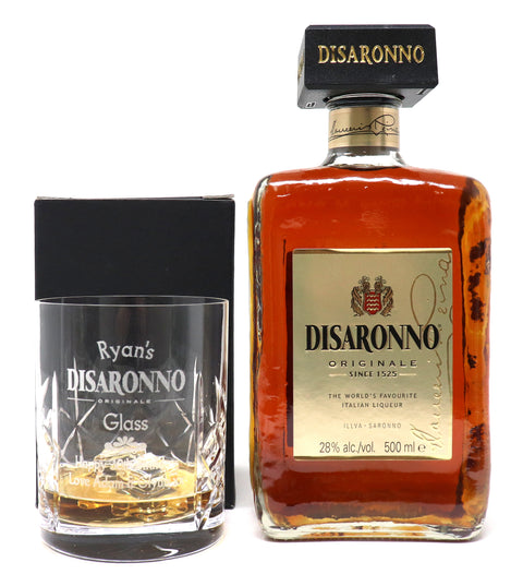 Personalised Crystal Glass Tumbler & 50cl Bottle of Amaretto - Disaronno Design