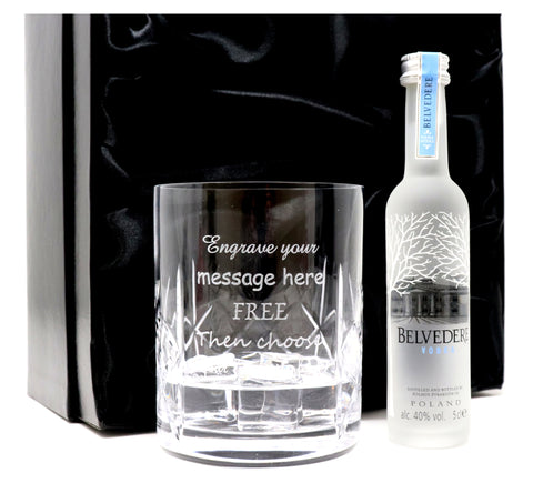 Personalised Crystal Glass Tumbler + Miniature Vodka in Silk Gift Box