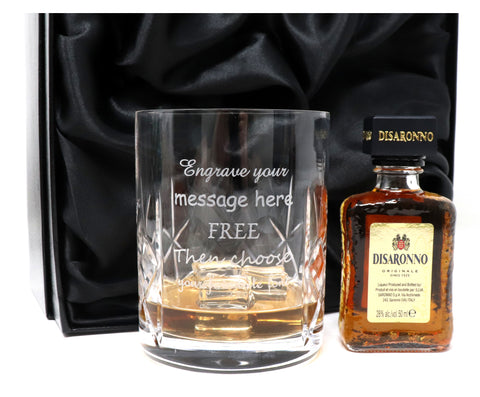 Personalised Crystal Glass Tumbler + Disaronno in Silk Gift Box