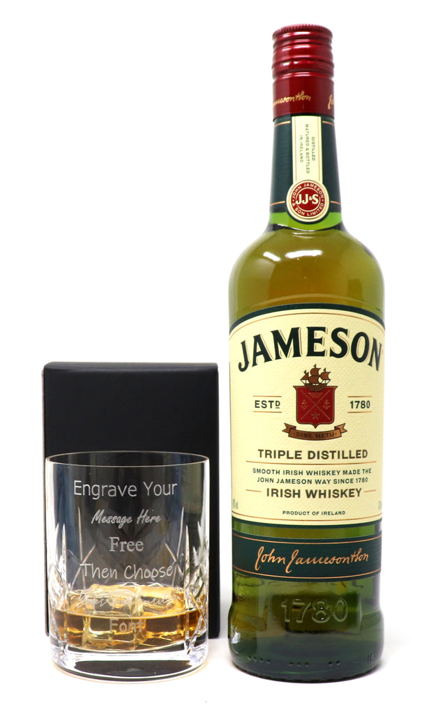 Personalised Crystal Glass Tumbler & 70cl Bottle of Jameson Irish Whisky