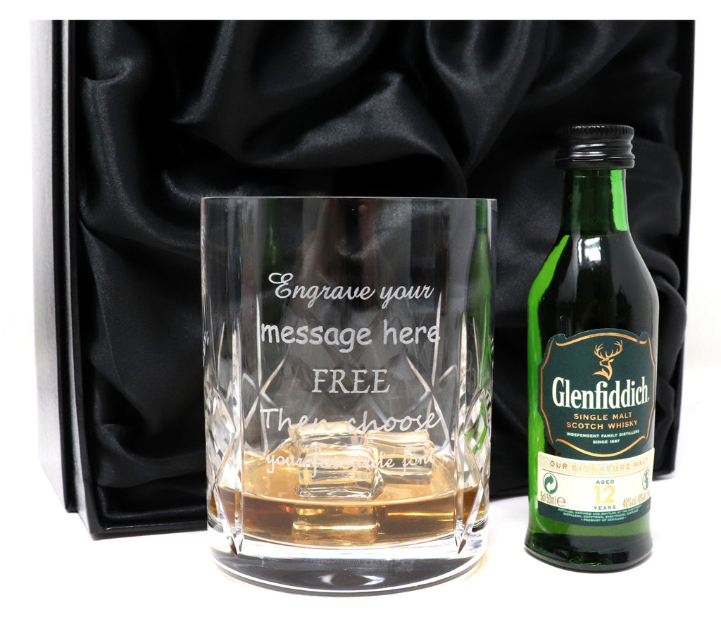 Personalised Crystal Glass Tumbler + Miniature Whisky in Silk Gift Box