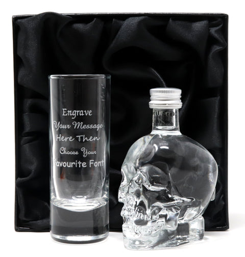 Personalised Tall Shot Glass & Crystal Head Vodka in Silk Gift Box