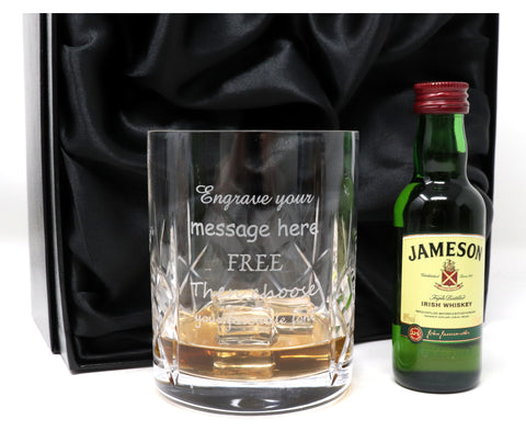 Personalised Crystal Glass Tumbler & Jameson Irish Whiskey in Silk Gift Box
