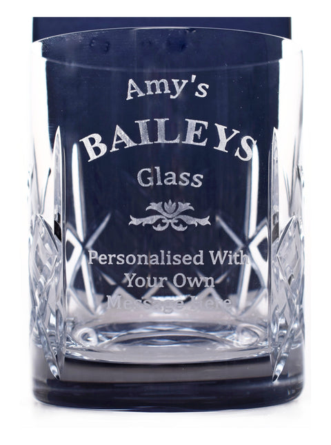 Personalised/Engraved Crystal Glass Tumbler - Baileys Design