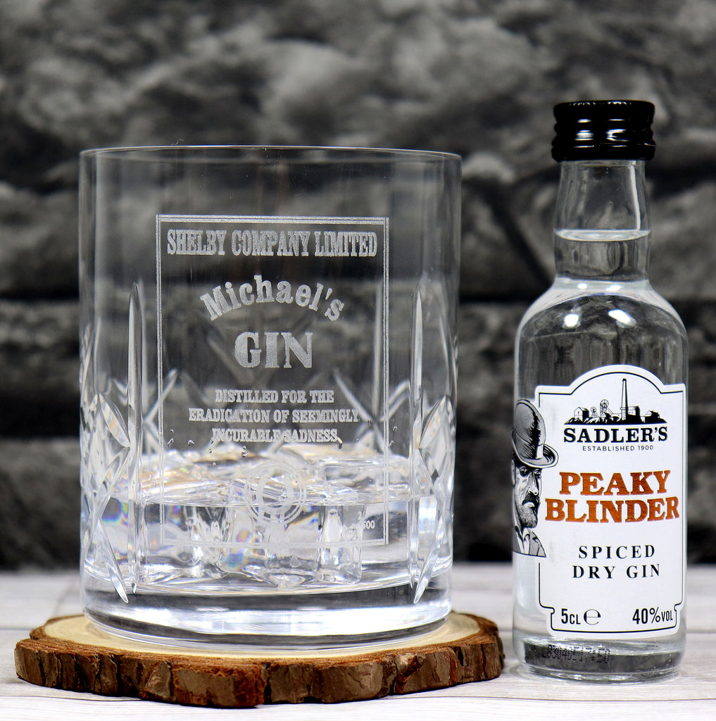 Personalised Crystal Glass Tumbler & Miniature Gin - Peaky Blinders *Gin Design*